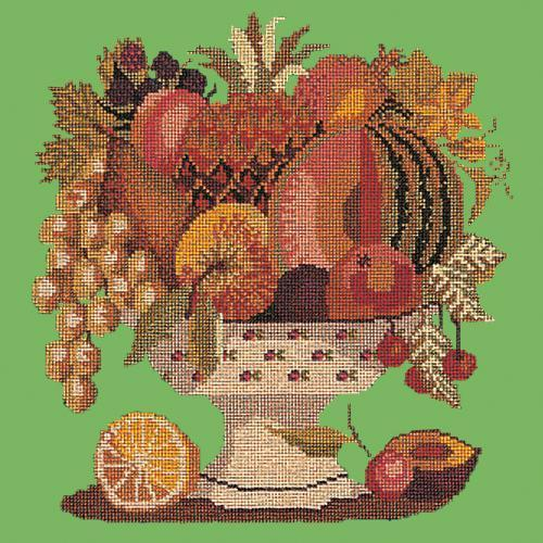 Bowl of Fruit Needlepoint Kit Elizabeth Bradley Design Grass Green