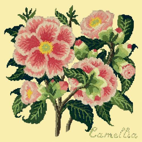 Camellia Needlepoint Kit Elizabeth Bradley Design Butter Yellow