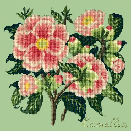 Camellia Needlepoint Kit Elizabeth Bradley Design Pale Green