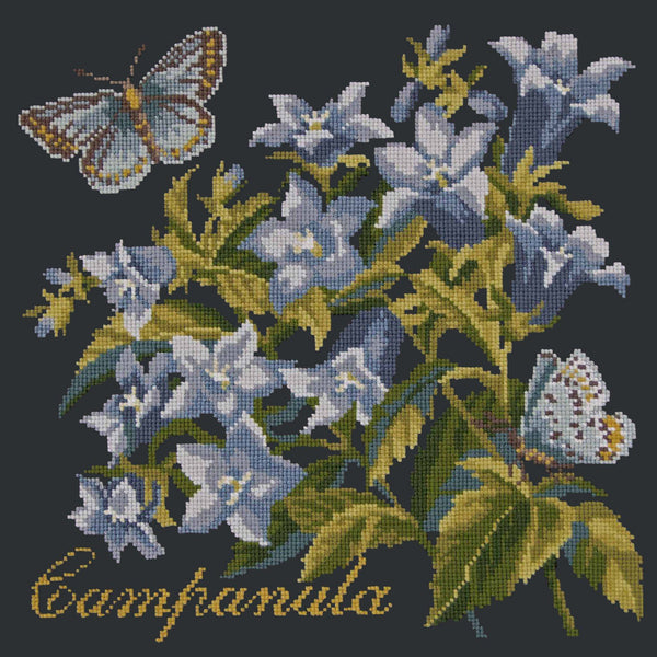 Campanula Needlepoint Kit Elizabeth Bradley Design Black
