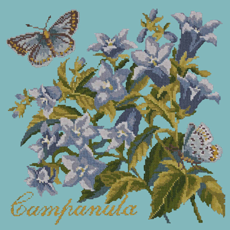 Campanula Needlepoint Kit Elizabeth Bradley Design Duck Egg Blue