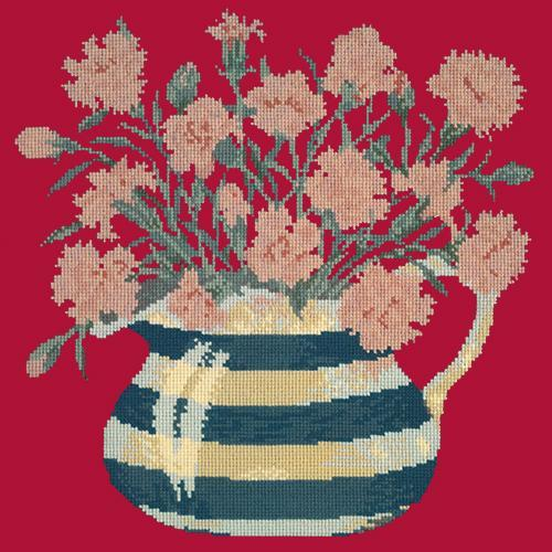 Carnation Jug Needlepoint Kit Elizabeth Bradley Design Bright Red