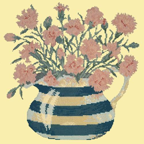 Carnation Jug Needlepoint Kit Elizabeth Bradley Design Butter Yellow