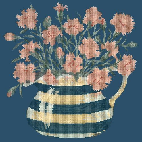 Carnation Jug Needlepoint Kit Elizabeth Bradley Design Dark Blue