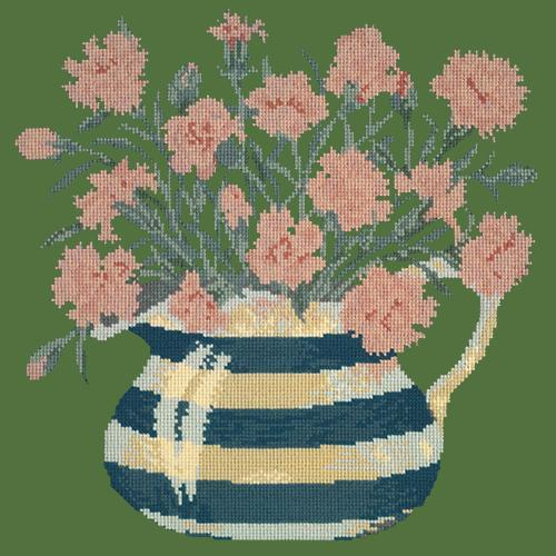 Carnation Jug Needlepoint Kit Elizabeth Bradley Design Dark Green