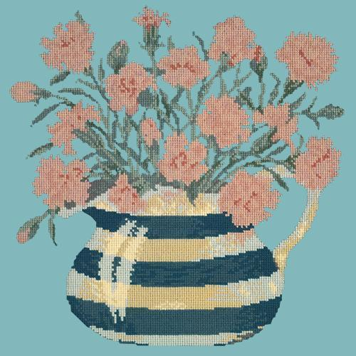 Carnation Jug Needlepoint Kit Elizabeth Bradley Design Duck Egg Blue