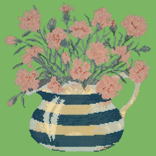 Carnation Jug Needlepoint Kit Elizabeth Bradley Design Grass Green