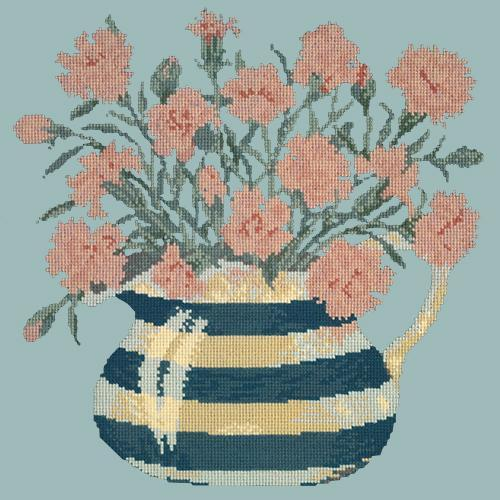 Carnation Jug Needlepoint Kit Elizabeth Bradley Design Pale Blue