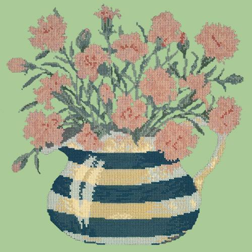 Carnation Jug Needlepoint Kit Elizabeth Bradley Design Pale Green
