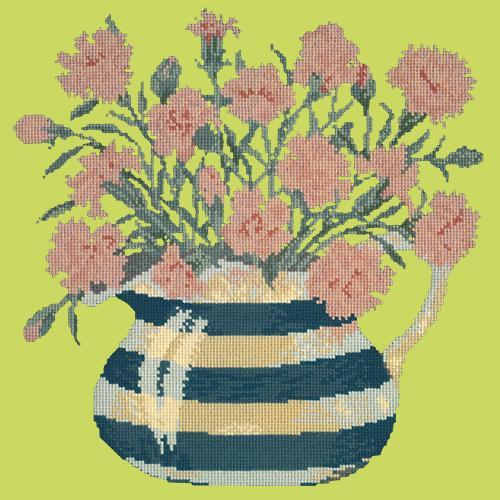 Carnation Jug Needlepoint Kit Elizabeth Bradley Design Pale Lime