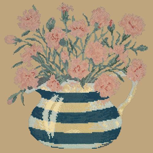 Carnation Jug Needlepoint Kit Elizabeth Bradley Design Sand