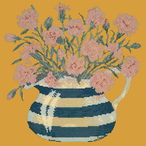 Carnation Jug Needlepoint Kit Elizabeth Bradley Design Yellow