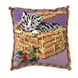 Christmas Kitten Mini Kit Needlepoint Kit Elizabeth Bradley Design