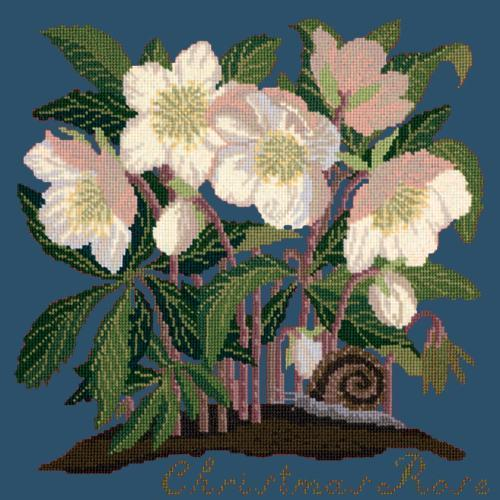Christmas Rose Needlepoint Kit Elizabeth Bradley Design Dark Blue