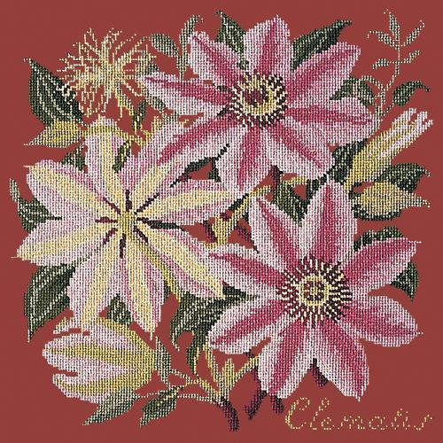Clematis Needlepoint Kit Elizabeth Bradley Design Dark Red