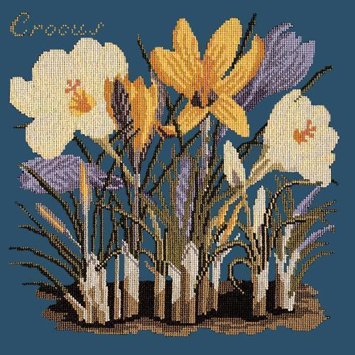 Crocus Needlepoint Kit Elizabeth Bradley Design Dark Blue