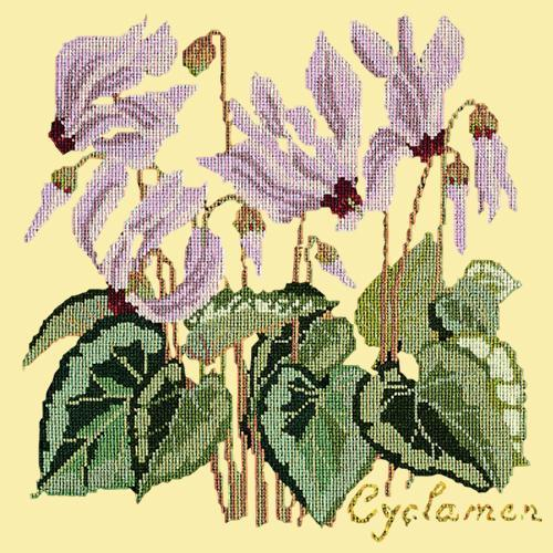 Cyclamen Needlepoint Kit Elizabeth Bradley Design Butter Yellow