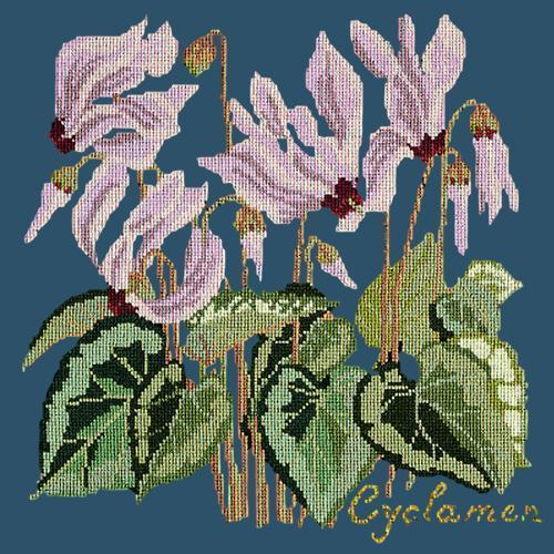 Cyclamen Needlepoint Kit Elizabeth Bradley Design Dark Blue