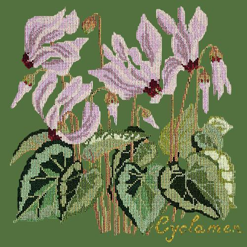 Cyclamen Needlepoint Kit Elizabeth Bradley Design Dark Green