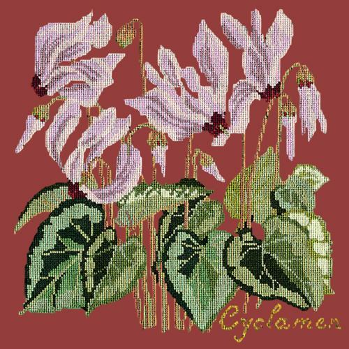 Cyclamen Needlepoint Kit Elizabeth Bradley Design Dark Red