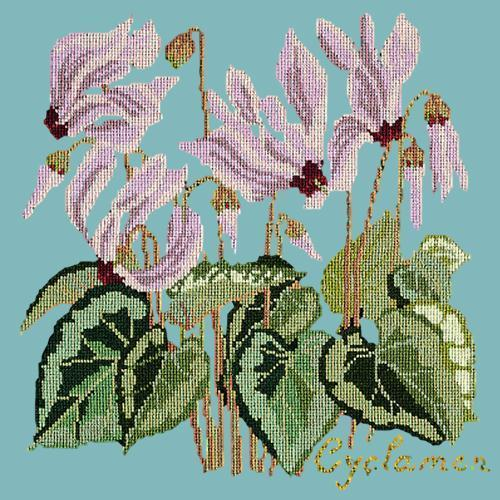 Cyclamen Needlepoint Kit Elizabeth Bradley Design Duck Egg Blue