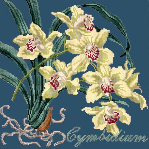 Cymbidium (Boat Orchid) Needlepoint Kit Elizabeth Bradley Design Dark Blue