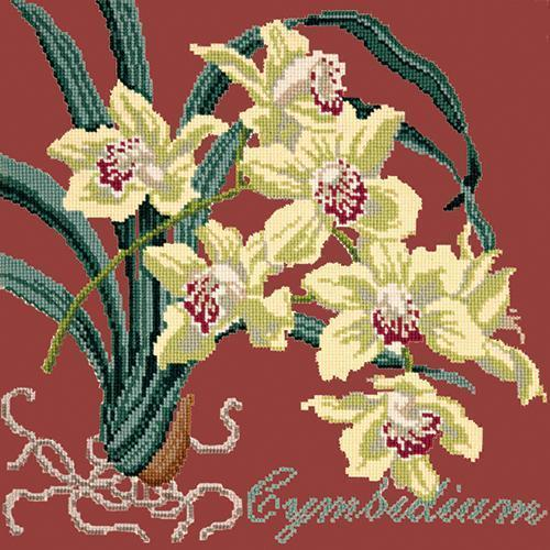 Cymbidium (Boat Orchid) Needlepoint Kit Elizabeth Bradley Design Dark Red