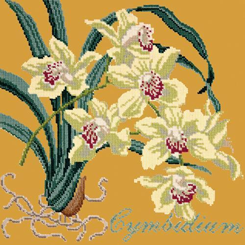 Cymbidium (Boat Orchid) Needlepoint Kit Elizabeth Bradley Design Yellow