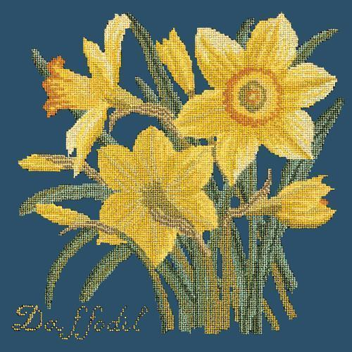Daffodil Needlepoint Kit Elizabeth Bradley Design Dark Blue