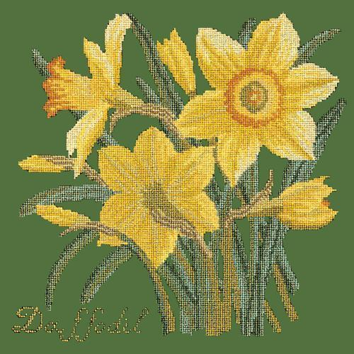Daffodil Needlepoint Kit Elizabeth Bradley Design Dark Green