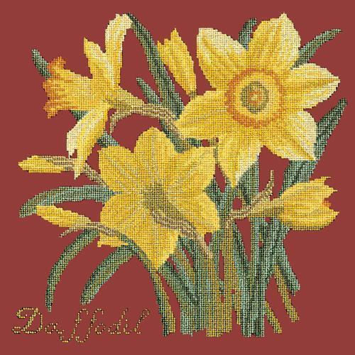 Daffodil Needlepoint Kit Elizabeth Bradley Design Dark Red