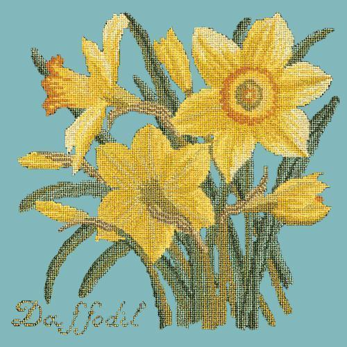 Daffodil Needlepoint Kit Elizabeth Bradley Design Duck Egg Blue