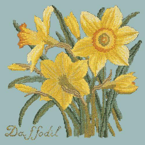 Daffodil Needlepoint Kit Elizabeth Bradley Design Pale Blue