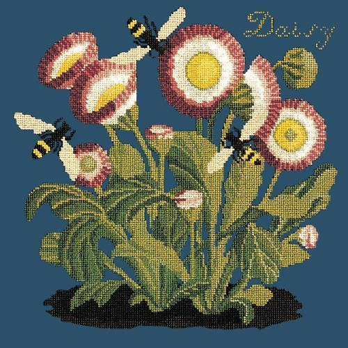 Daisy Needlepoint Kit Elizabeth Bradley Design Dark Blue