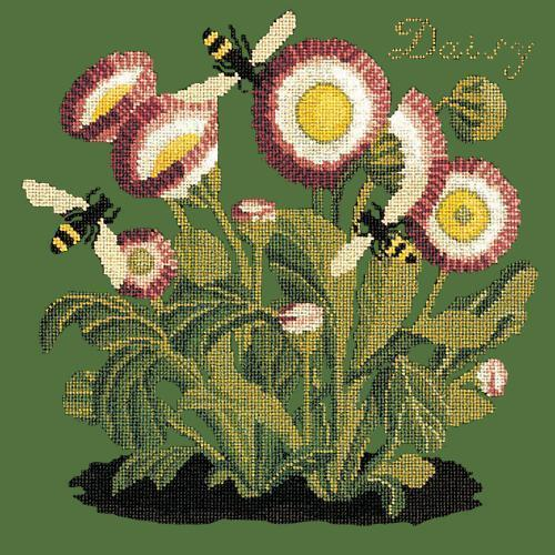 Daisy Needlepoint Kit Elizabeth Bradley Design Dark Green