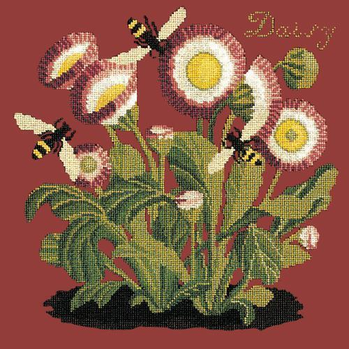 Daisy Needlepoint Kit Elizabeth Bradley Design Dark Red