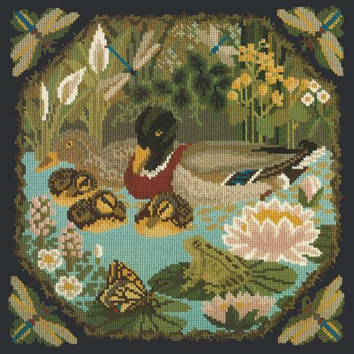 Duck Pond Needlepoint Kit Elizabeth Bradley Design Black