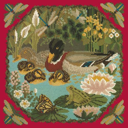 Duck Pond Needlepoint Kit Elizabeth Bradley Design Bright Red