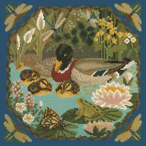 Duck Pond Needlepoint Kit Elizabeth Bradley Design Dark Blue