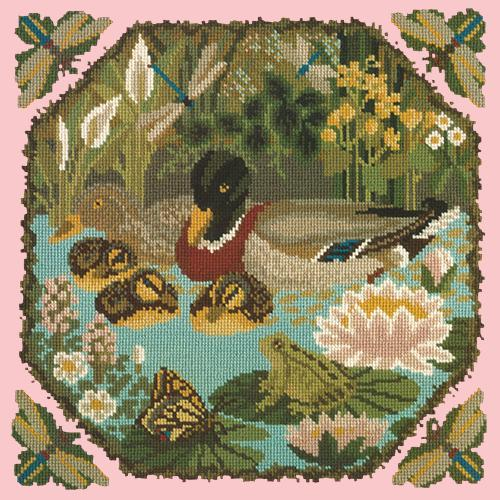 Duck Pond Needlepoint Kit Elizabeth Bradley Design Pale Rose