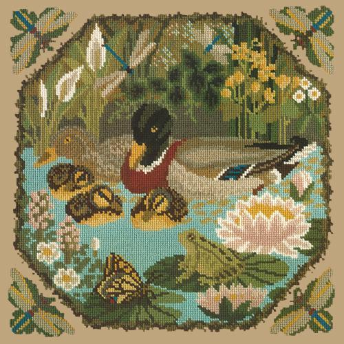 Duck Pond Needlepoint Kit Elizabeth Bradley Design Sand