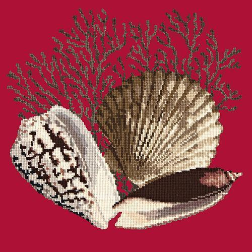 Fan Coral Needlepoint Kit Elizabeth Bradley Design Bright Red