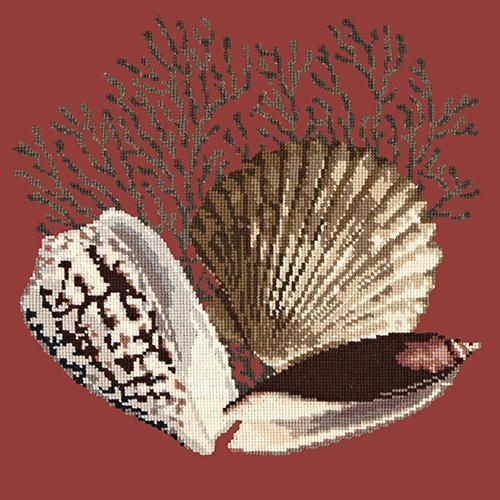 Fan Coral Needlepoint Kit Elizabeth Bradley Design Dark Red