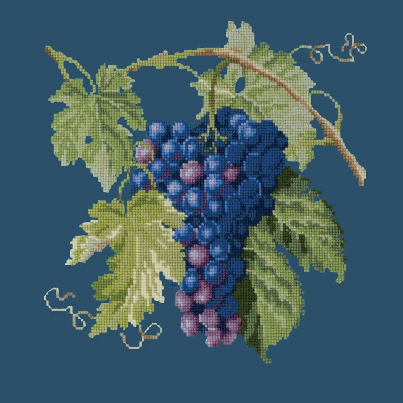 Grapes Needlepoint Kit Elizabeth Bradley Design Dark Blue
