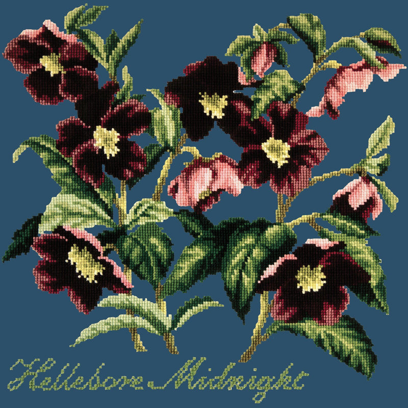 Hellebore Midnight Needlepoint Kit Elizabeth Bradley Design Dark Blue