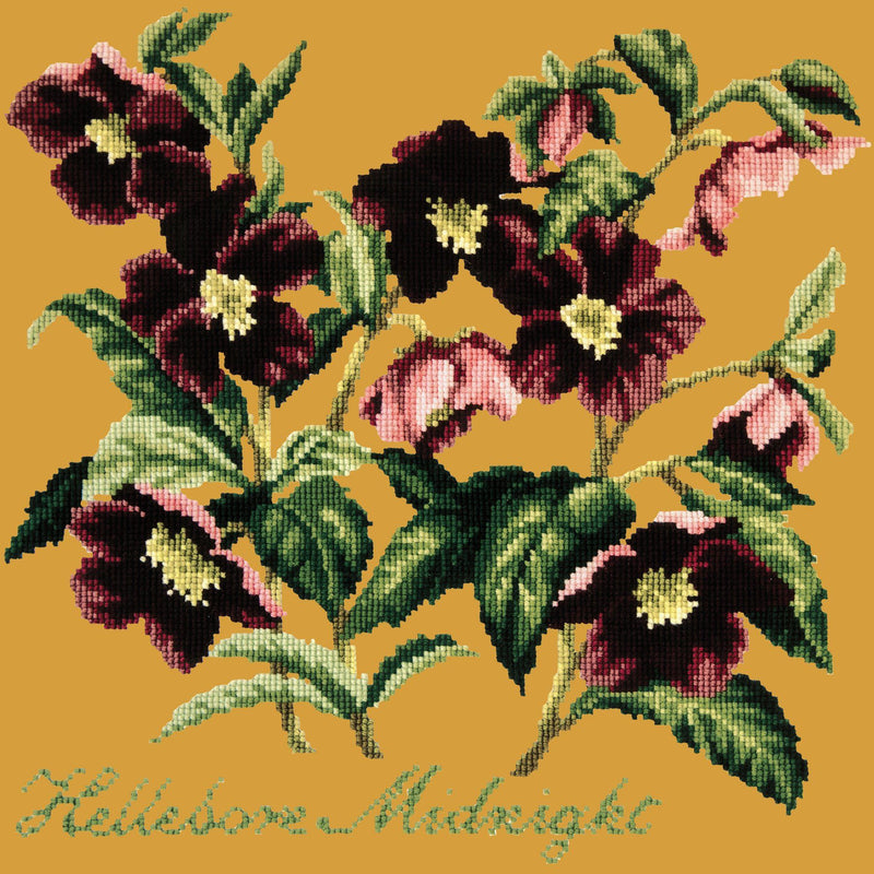 Hellebore Midnight Needlepoint Kit Elizabeth Bradley Design Yellow