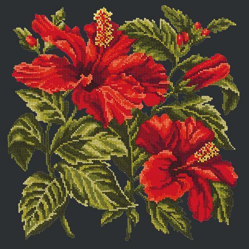Hibiscus Needlepoint Kit Elizabeth Bradley Design Black