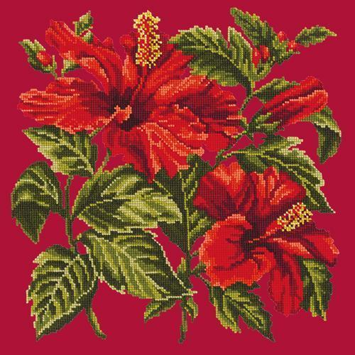 Hibiscus Needlepoint Kit Elizabeth Bradley Design Bright Red