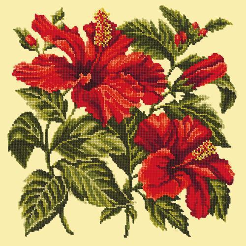 Hibiscus Needlepoint Kit Elizabeth Bradley Design Butter Yellow