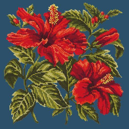 Hibiscus Needlepoint Kit Elizabeth Bradley Design Dark Blue